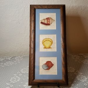 Framed cross stitch picture
